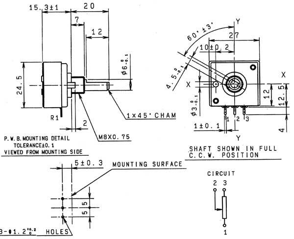 Zeichnung des ALPS Potentiometers RK27111