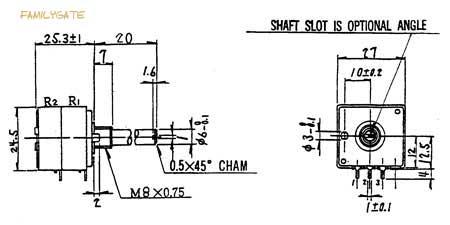 Zeichnung des ALPS Potentiometers RK27112